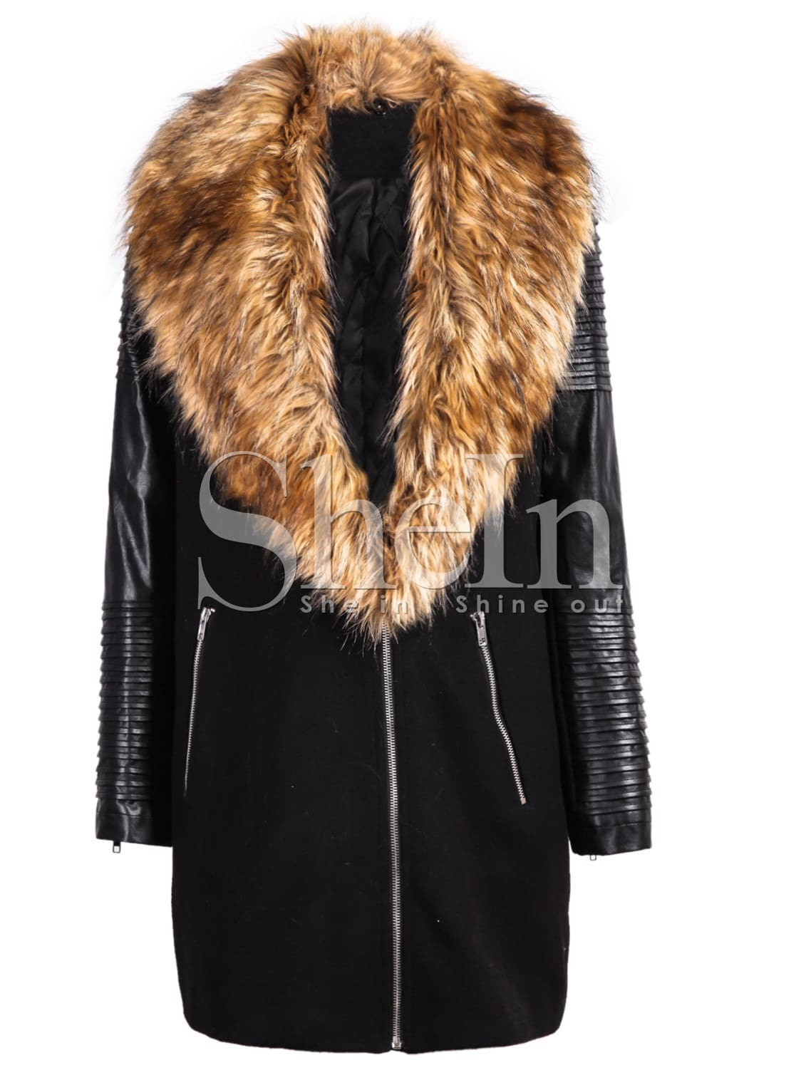 Black PU Leather Sleeve Faux Fur Lapel Coat -SheIn(Sheinside)