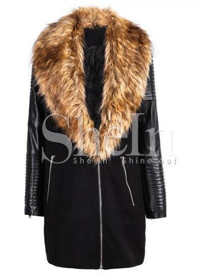 Black PU Leather Sleeve Faux Fur Lapel Coat