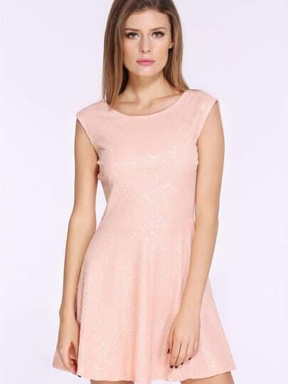 Gold Sleeveless Sequin V Back Dress