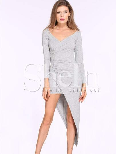 Grey Off The Shoulder Asymmetric Sheath Dress pictures