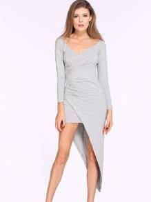 Grey Off The Shoulder Asymmetric Sheath Dress