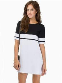 White Black Short Sleeve Color Block Dress