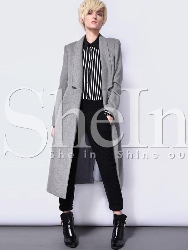 Grey Long Sleeve Notch Lapel Pockets Coat -SheIn(Sheinside)