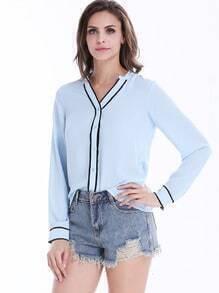 Blue Long Sleeve V Neck Shift Blouse