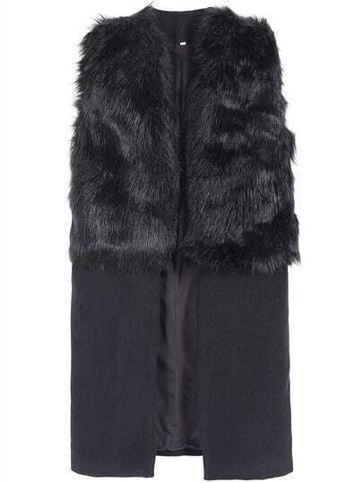 Black Sleeveless Faux Fur Outerwear