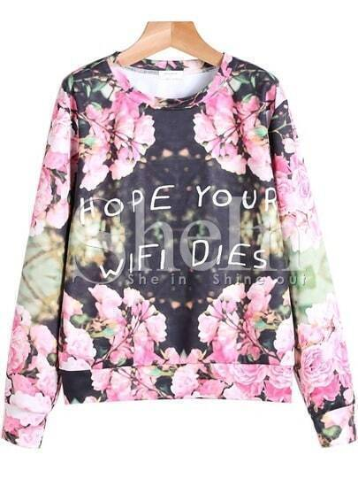Black Long Sleeve Floral Gothic Thanksgiving Carnival Letters Print Sweatshirt