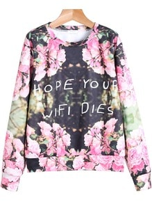 Black Long Sleeve Floral Letters Print Sweatshirt