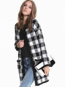 Black White Long Sleeve Plaid Pockets Knitting Coat