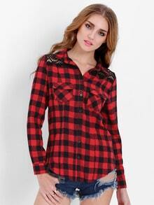 Red Long Sleeve Lace Shoulder Plaid Blouse