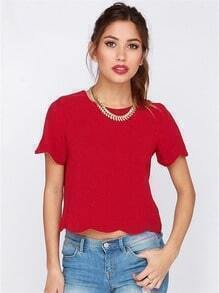 Red Short Sleeve Crop Blouse