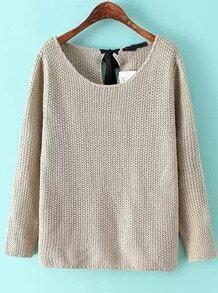 Khaki Long Sleeve Knotted Knit Sweater