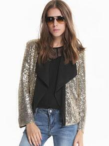 Gold Long Sleeve Sequined Crop Coat