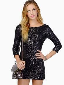 Black Round Neck Sequined Glitzy Slim Bodycon Dress