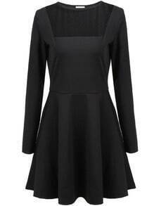 Black Long Sleeve Contrast Sheer Pleated Dress