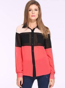 Red Long Sleeve Color Block Blouse