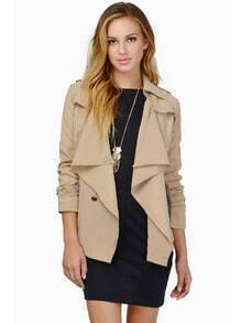 Khaki Long Sleeve Lapel Belt Epaulet Coat