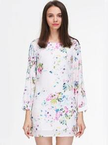 Multicolour Long Sleeve Floral Patterns Print Dress