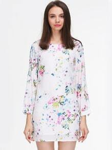 White Long Sleeve Floral Patterns Print Dress