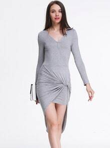 Grey Bleaching Long Sleeve V Neck High Low Dress