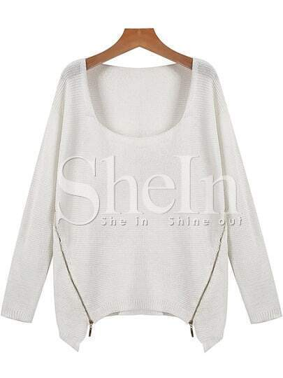 Beige Long Sleeve Square Neck Zipper Asymmetric Sweater