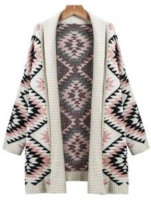 Apricot Long Sleeve Geometric Knit Cardigan Sweater