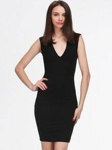 Black Sleeveless Deep V Neck Backless Dress