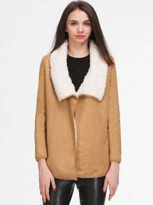 Khaki Faux Fur Lapel Long Sleeve Loose Coat