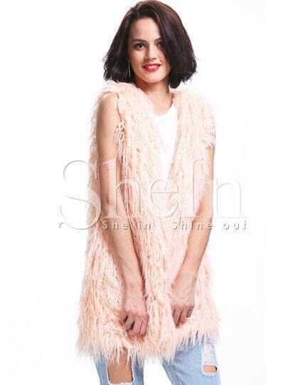 Beige Sleeveless Faux Fur Vest