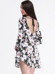 Green Long Sleeve Floral Print Backless Dress