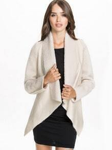 Beige Faux Fur Lapel Long Sleeve Asymmetric Outerwear