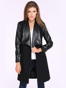 Black Contrast PU Leather Pockets Woolen Coat