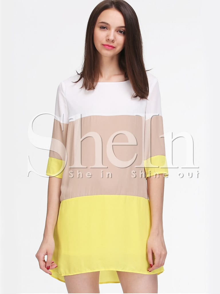 Color Block Dresses Black And White White Khaki Yellow Color Block