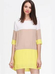 White Khaki Yellow Color Block Dress