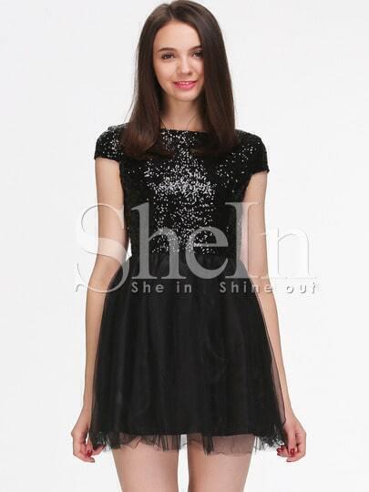 Black Sparkles Cap Sleeve Sequin Pleated Dress