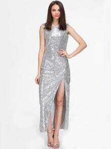 Silver Sleeveless Split Sequin Maxi Dress