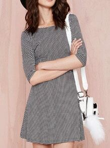 Black Half Sleeve Houndstooth Zipper Dress