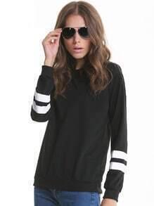 Black Contrast White Long Sleeve Loose Sweatshirt