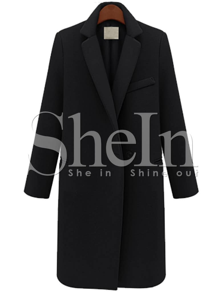 Black Long Sleeve Notch Lapel Oversized Coat -SheIn(Sheinside)