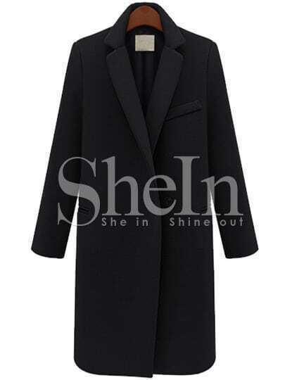 Black Long Sleeve Notch Lapel Oversized Coat