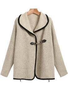 Apricot Lapel Long Sleeve Zipper Cardigan Sweater