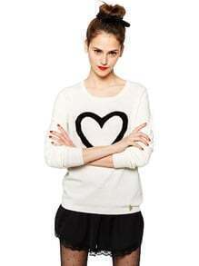 Beige Long Sleeve Black Heart Print Sweater