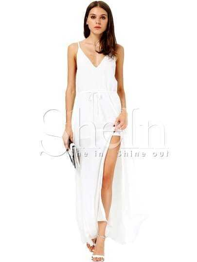 White Spaghetti Strap Drawstring Split Dress
