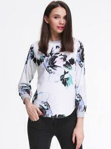 White Long Sleeve Oversized Floral Top