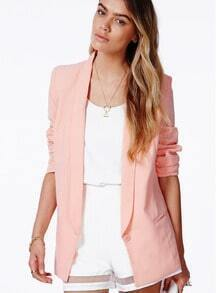 Pink Long Sleeve Lapel Button Pocket Blazer