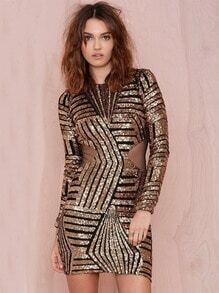 Gold Long Sleeve Sequined Contrast Mesh Yoke Dress