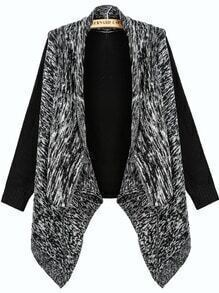 Black Contrast Grey Long Sleeve Knit Loose Cardigan
