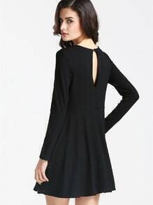 Black Long Sleeve Keyhole Back Dress