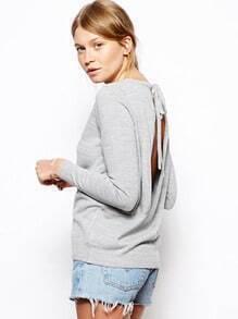 Grey Long Sleeve Backless Loose Sweater