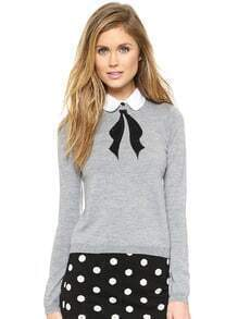 Grey Detachable Collar Black Bow Embroidery Sweater
