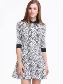 Black Half Sleeve Contrast Lace Pleated Dress